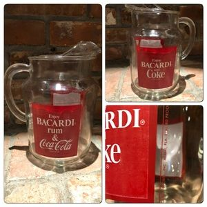"Vtg Enjoy BARCARDI RUM & COKE 10"" Glass Pitcher"